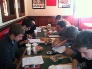 Calculus AP class holds pizza lunch/exam review